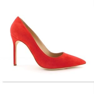 New MANOLO BLAHNIK Red Suede Classic Heel Pumps 39